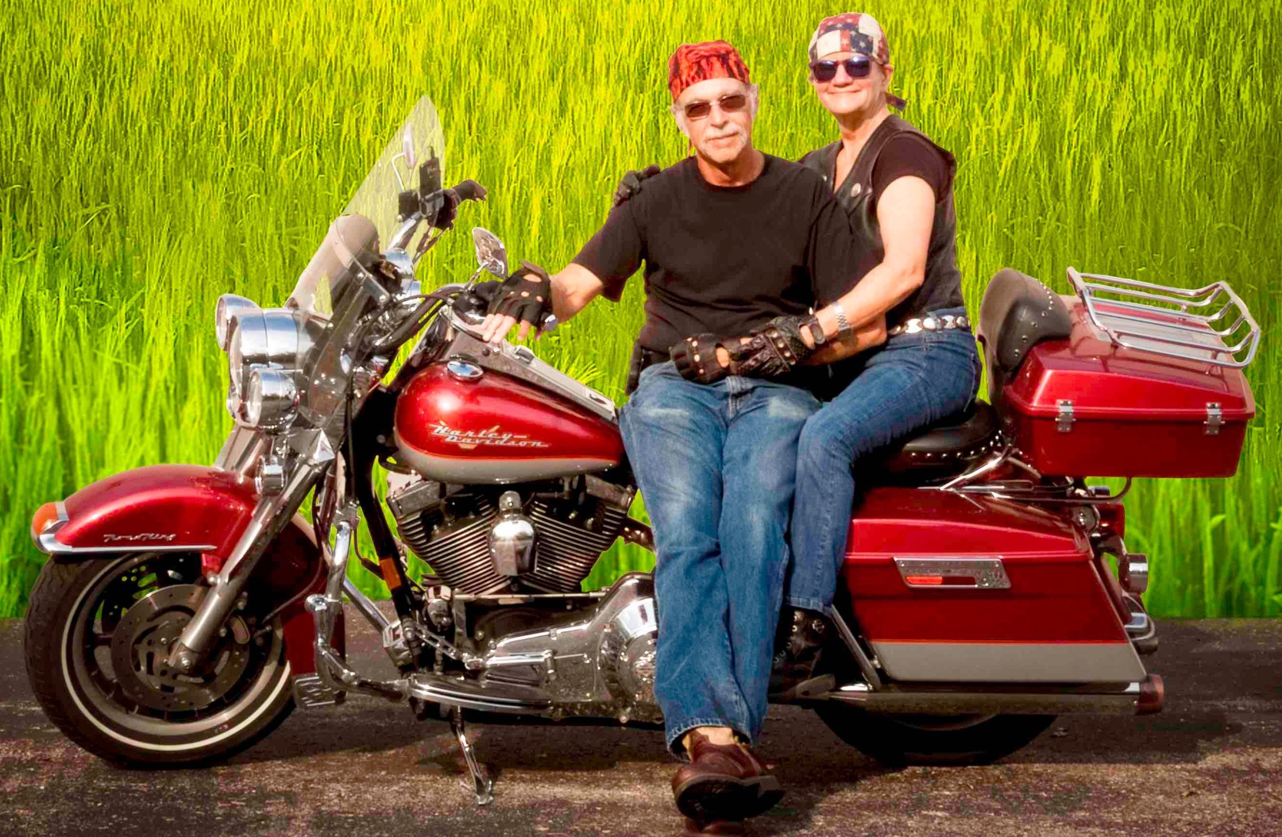 Becky & Tony Portrait with Motorcycle