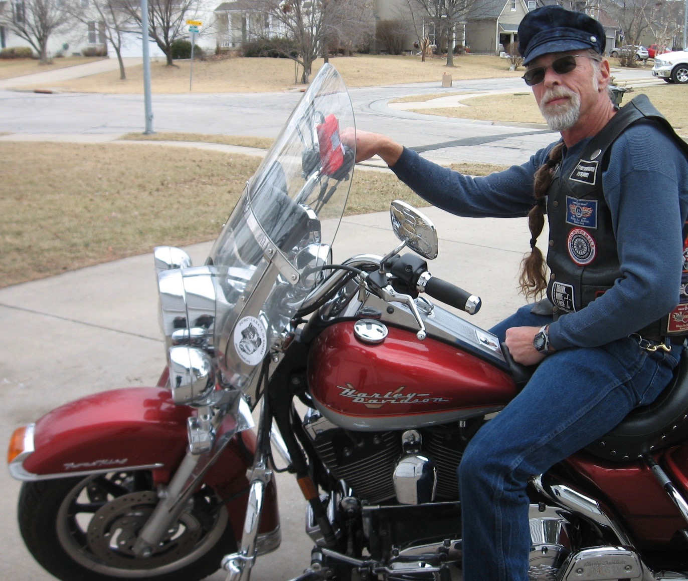 Tony with Fisherman Fiddler Biker Cap on Motorcycle