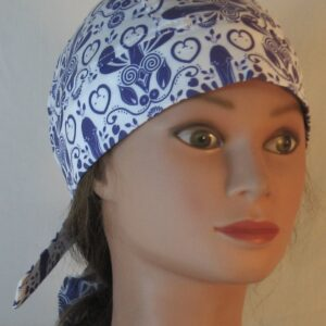 Do Rag in Blue Penis Flower with Hearts Folk Art - Front