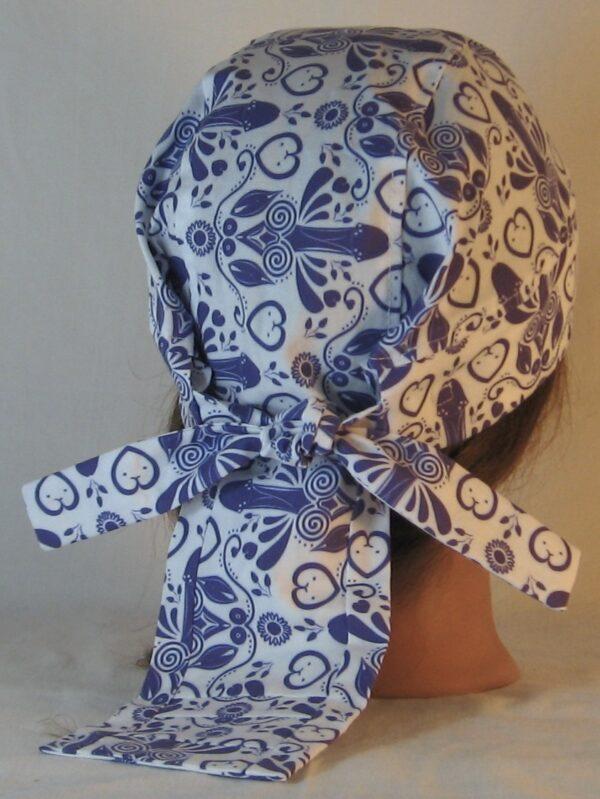 Do Rag in Blue Penis Flower with Hearts Folk Art - back