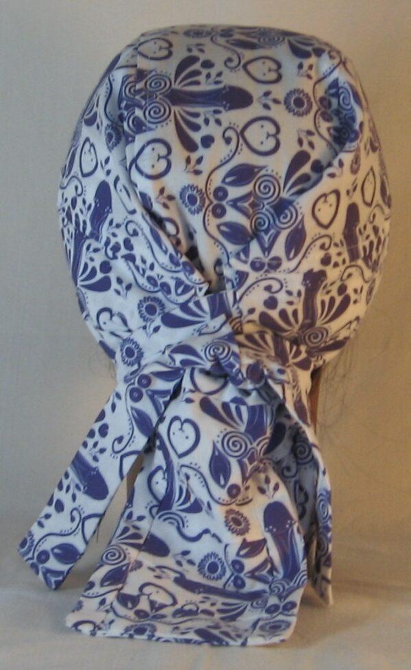 Hair Bag in Blue Penis Flower with Hearts Folk Art - back