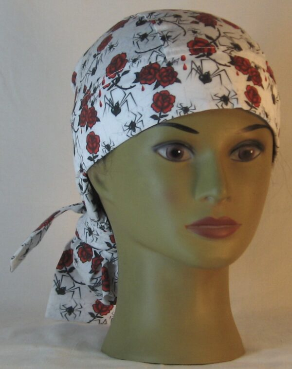 Hair Bag in Black Widow Spiders and Red Roses - front
