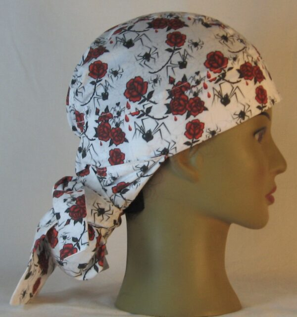 Hair Bag in Black Widow Spiders and Red Roses - right