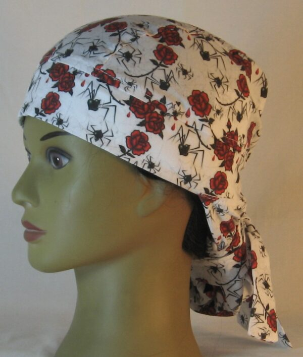 Hair Bag in Black Widow Spiders and Red Roses - left