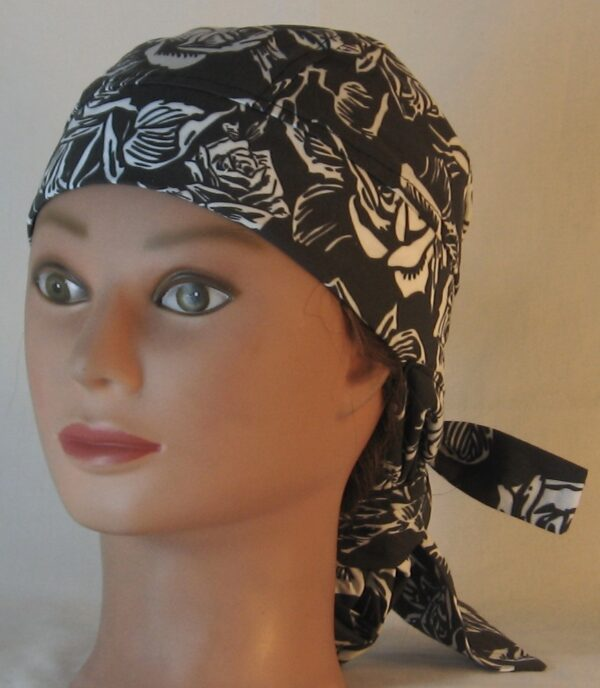 Hair Bag in White Outlined Roses on Black - front