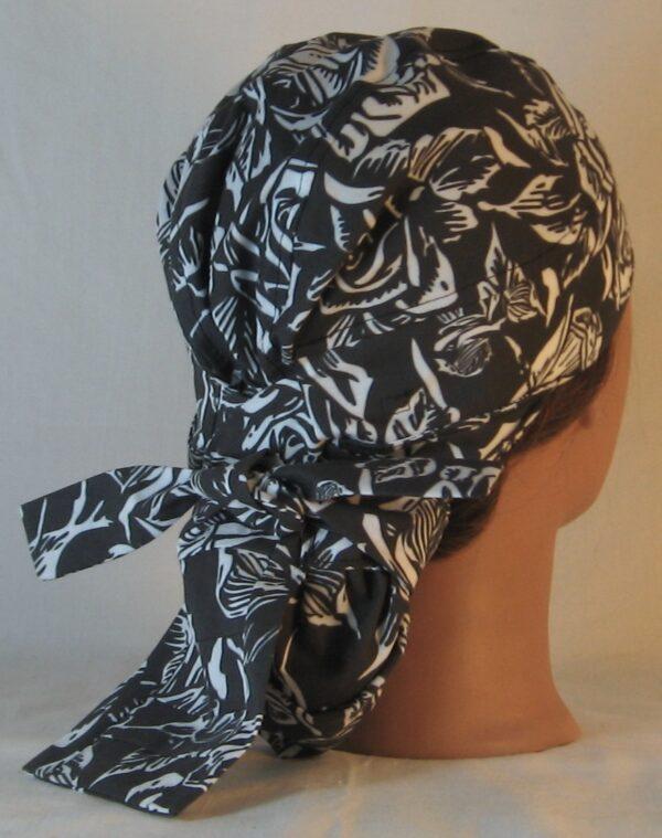 Hair Bag in White Outlined Roses on Black - back