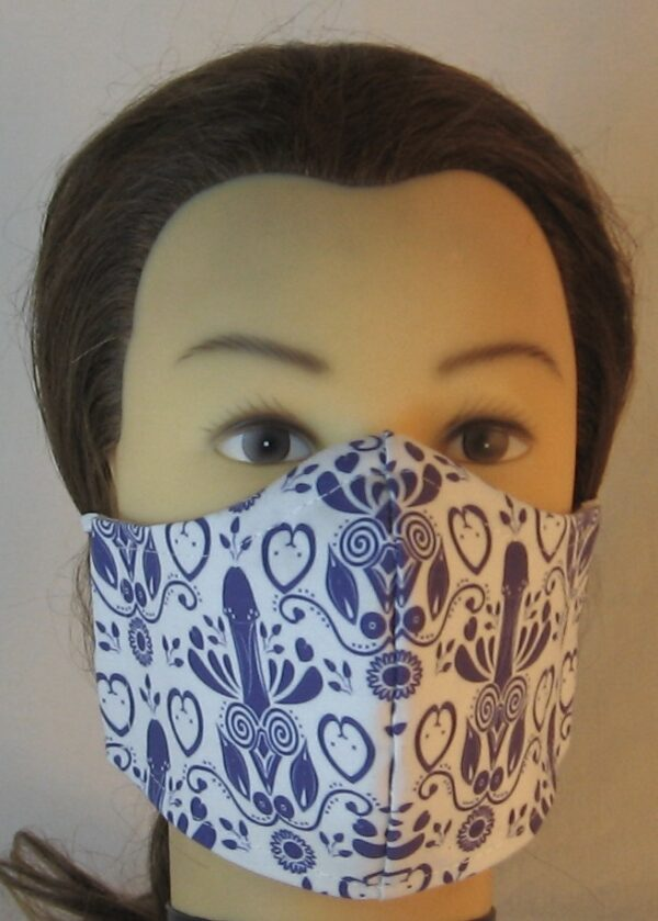 Face Mask in Blue Penis Flower with Hearts Folk Art - front