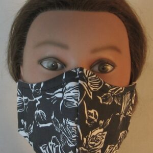 Face Mask in White Outlined Roses on Black - front