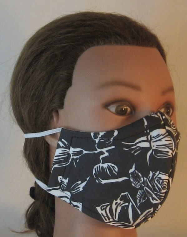 Face Mask in White Outlined Roses on Black - front right