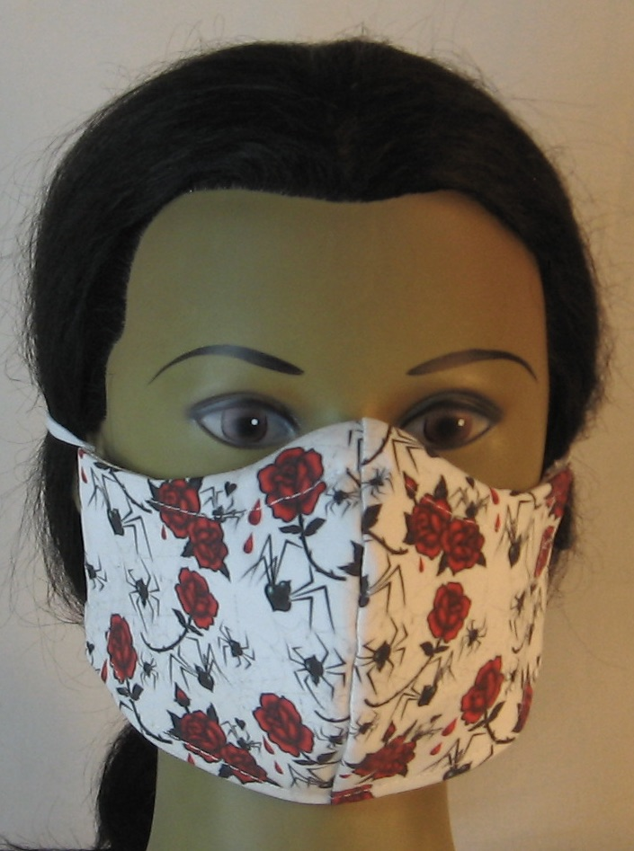 Face Mask in Black Widow Spiders and Red Roses - front