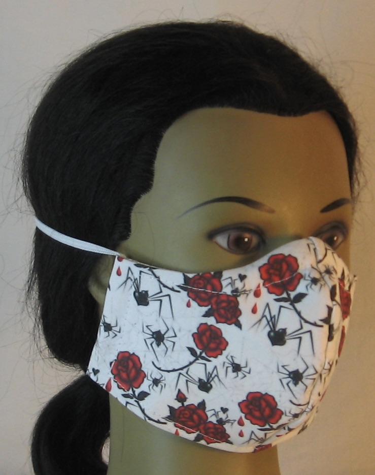 Face Mask in Black Widow Spiders and Red Roses - front right