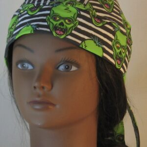 Do Rag in Green Zombies on Black White Stripe - front