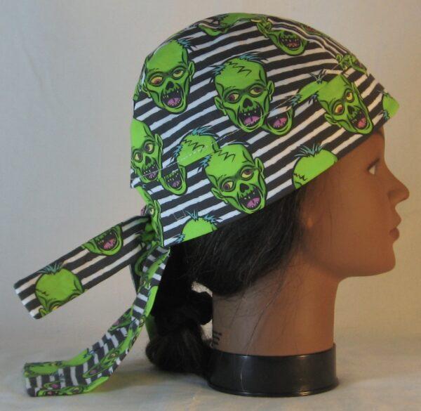 Do Rag in Green Zombies on Black White Stripe - left