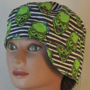 Welding Cap in Green Zombies on Black White Stripe - over ear front left