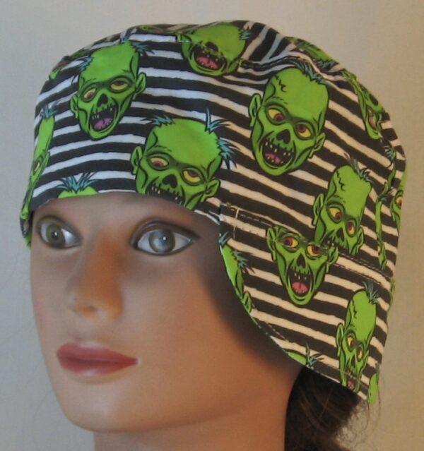 Welding Cap in Green Zombies on Black White Stripe - over ear front left