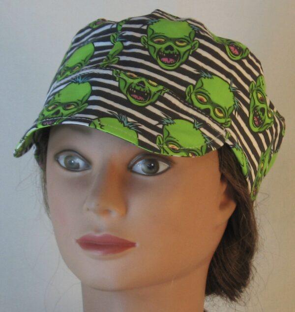 Welding Cap in Green Zombies on Black White Stripe - front