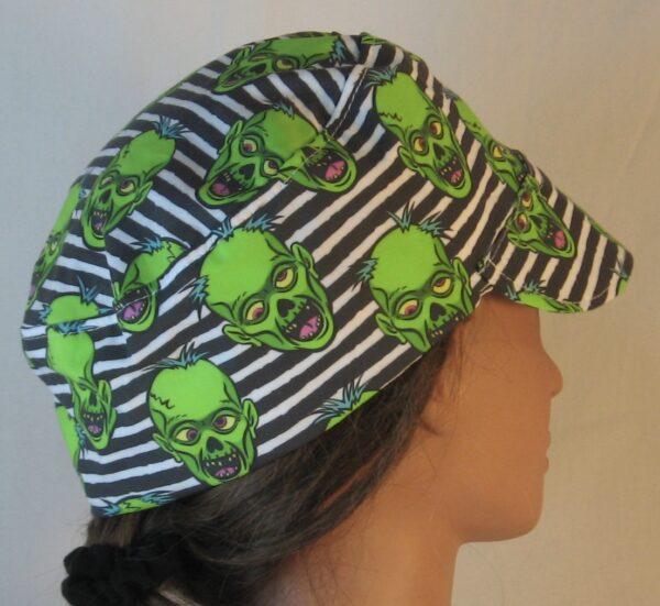 Welding Cap in Green Zombies on Black White Stripe - right back