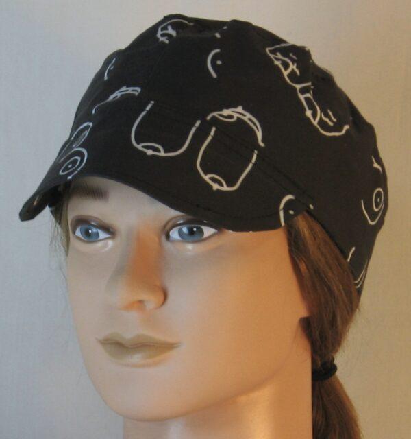 Welding Cap in Doodled Boobs on Black - front left
