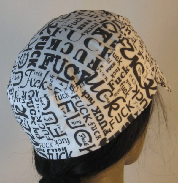 Welding Cap in Fuck Jumble on White - back right