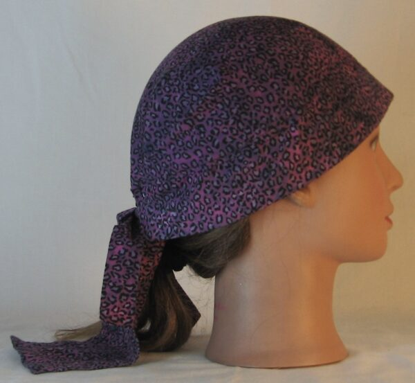 Do Rag in Pink with Black Leopard Splotchy Black Dye - right