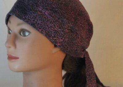 Do Rag in Pink with Black Leopard Splotchy Black Dye - left