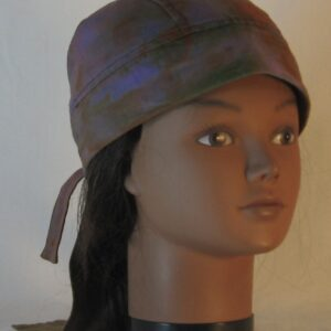 Do Rag in Purple with Green Orange Yellow Blue Splotchy Dye - front