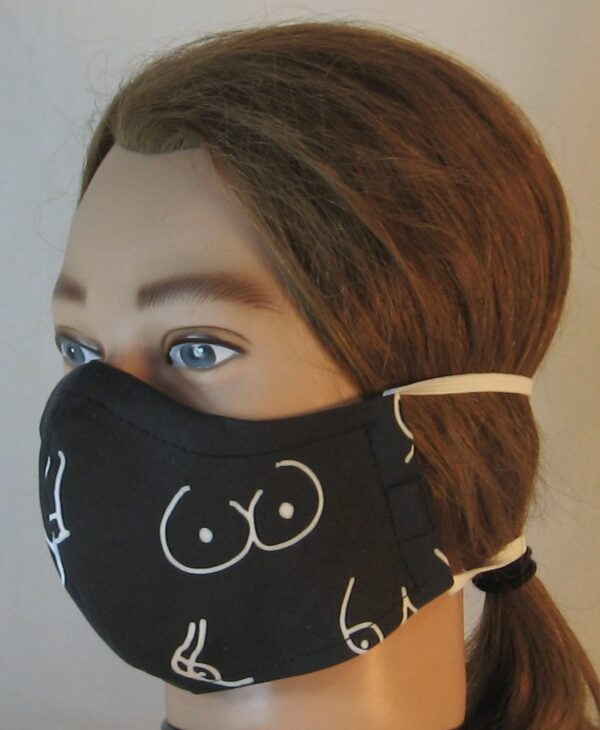 Face Mask in Doodled Boobs On Black in Life Cycle - front left