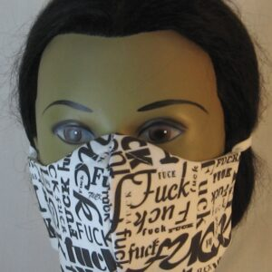Face Mask Fuck Jumble on White - front