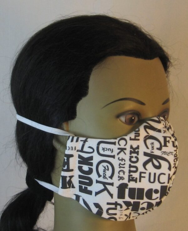 Face Mask Fuck Jumble on White - front right