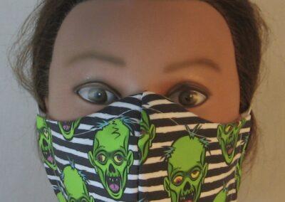 Green Zombies on Black White Stripe - front