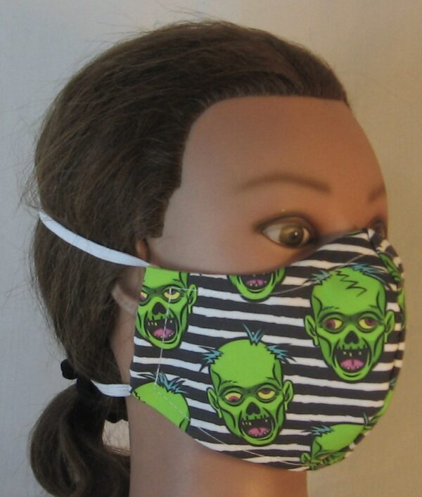 Green Zombies on Black White Stripe - front right