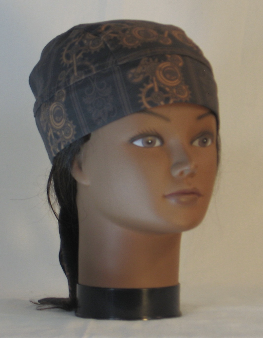 Do Rag in Steampunk Damask Stripes of Gears Floral in Brown - front right