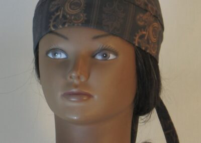 Do Rag in Steampunk Damask Stripes of Gears Floral in Brown - front