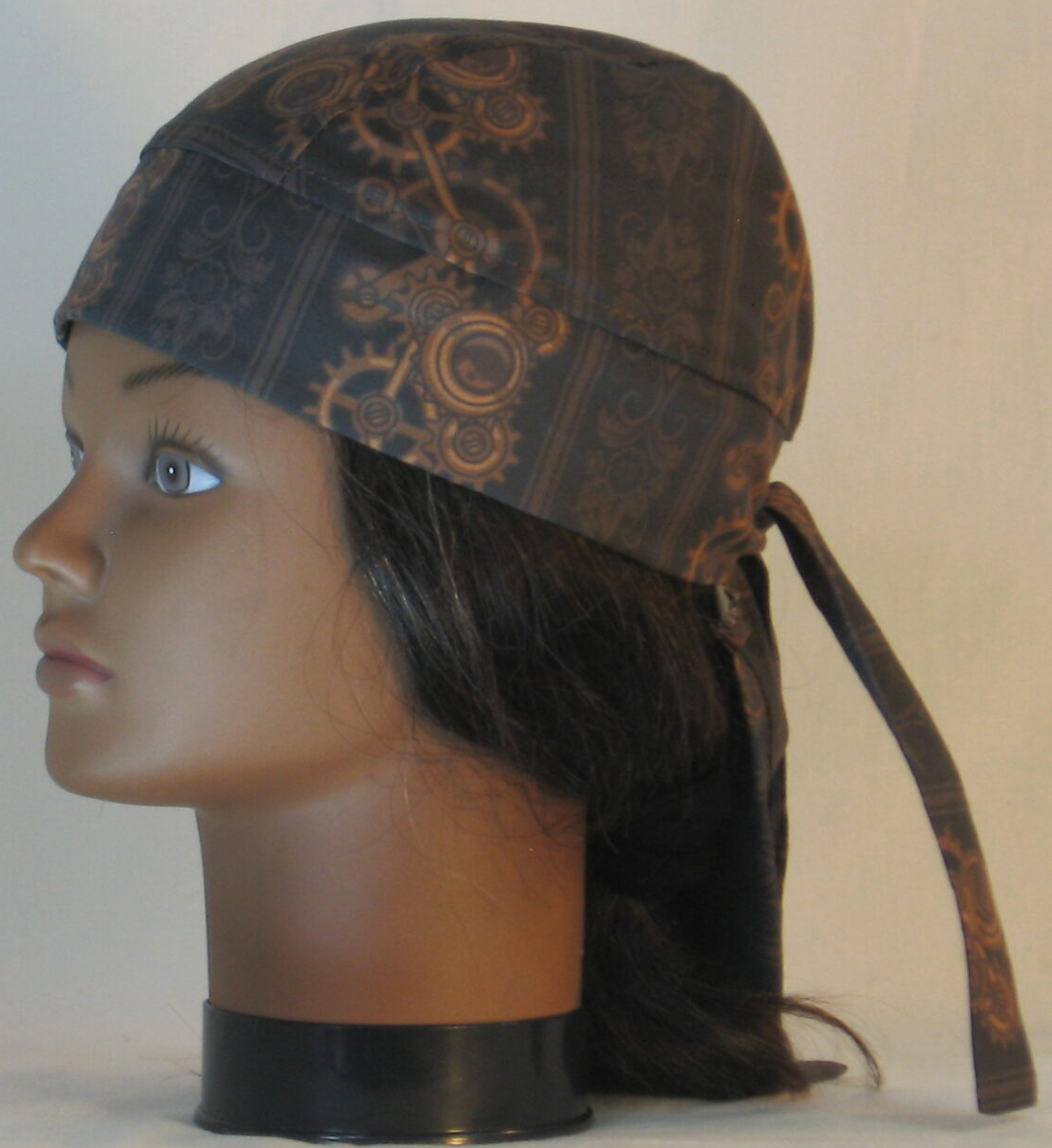 Do Rag in Steampunk Damask Stripes of Gears Floral in Brown - left