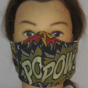 Face Mask in Pow in Green Black White - front
