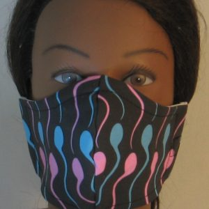 Face Mask in Sperm Swimmers in Pink Blue - front
