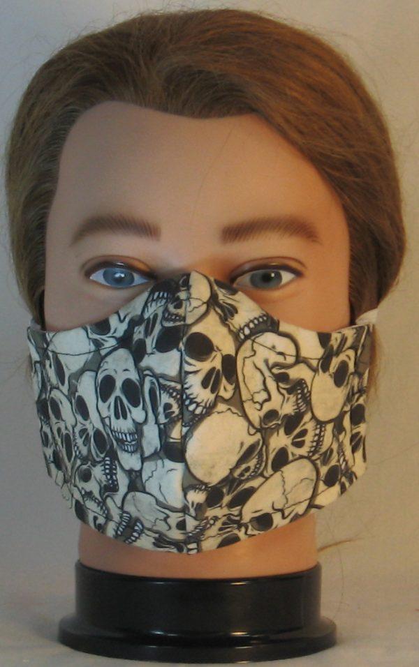 Face Mask in Skull Pile in White Black on Gray 2 - front