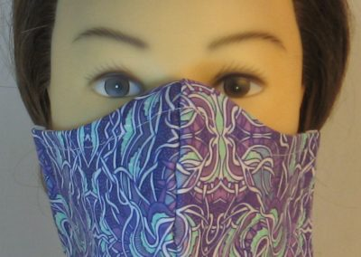 Face Mask in Gothic Grapes Scrolls in Lavender Mint Green White - front