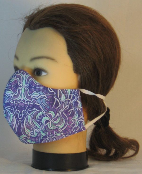 Face Mask in Gothic Grapes Scrolls in Lavender Mint Green White - front left