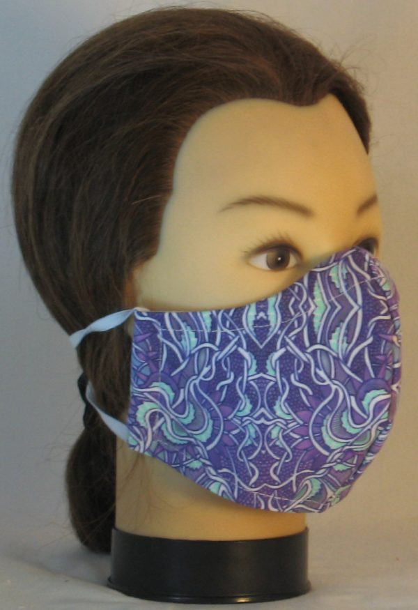 Face Mask in Gothic Grapes Scrolls in Lavender Mint Green White - front right