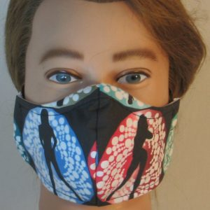 Face Mask in Bond Girls on Red Blue - front