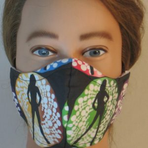 Face Mask in Bond Girls on Yellow Green - front