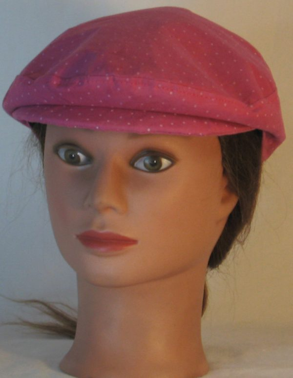 Ivy Flat Cap in Raspberry Dotted Swiss Immersion Dyed - front