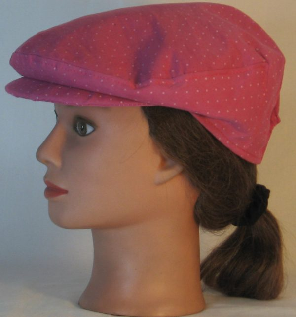 Ivy Flat Cap in Raspberry Dotted Swiss Immersion Dyed - left