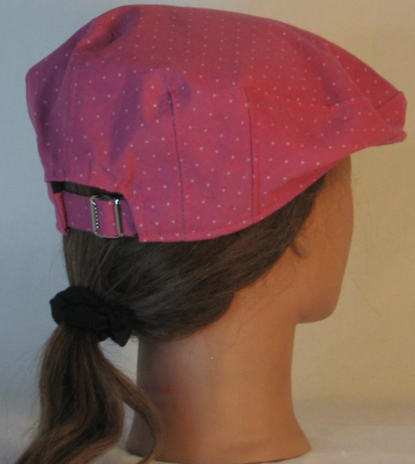 Ivy Flat Cap in Raspberry Dotted Swiss Immersion Dyed - back right