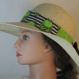 Floppy Band in Green Zombies on Black White Stripe Ties Green Black-left on full braid hat