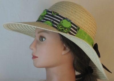 Floppy Band in Green Zombies on Black White Stripe Ties Green Black-left on full braid hat