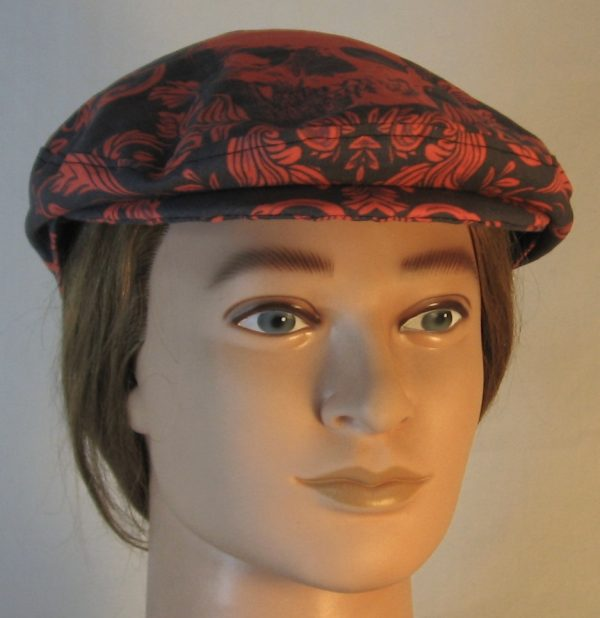 Ivy Flat Cap in Red Skull Scroll Leaves on Black Damask - front