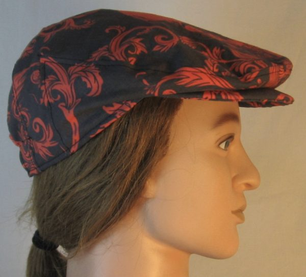 Ivy Flat Cap in Red Skull Scroll Leaves on Black Damask - right
