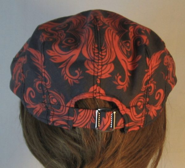 Ivy Flat Cap in Red Skull Scroll Leaves on Black Damask - back